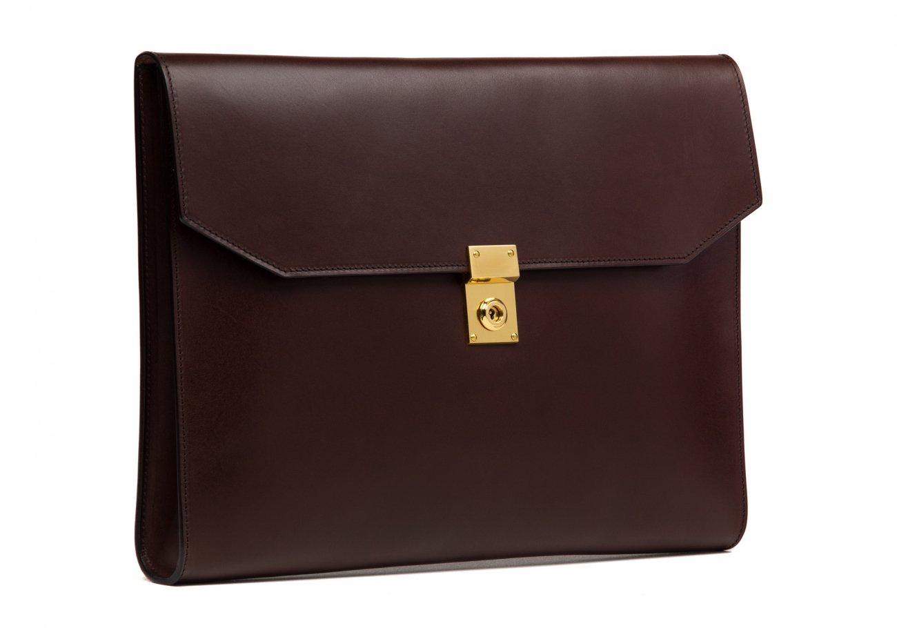 Wrap Around Leather Lock Portfolio Chocolate6