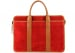 Red Suede Bound Edge Ziptop Briefcase Frank Clegg Made In Usa 1