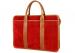 Red Suede Bound Edge Ziptop Briefcase Frank Clegg Made In Usa 4
