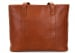 Small Cognac Handmade Leather Laurlie Ziptop Tote Bag Made In Usa 1