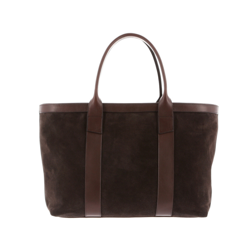 Large Working Tote - Chocolate - Suede