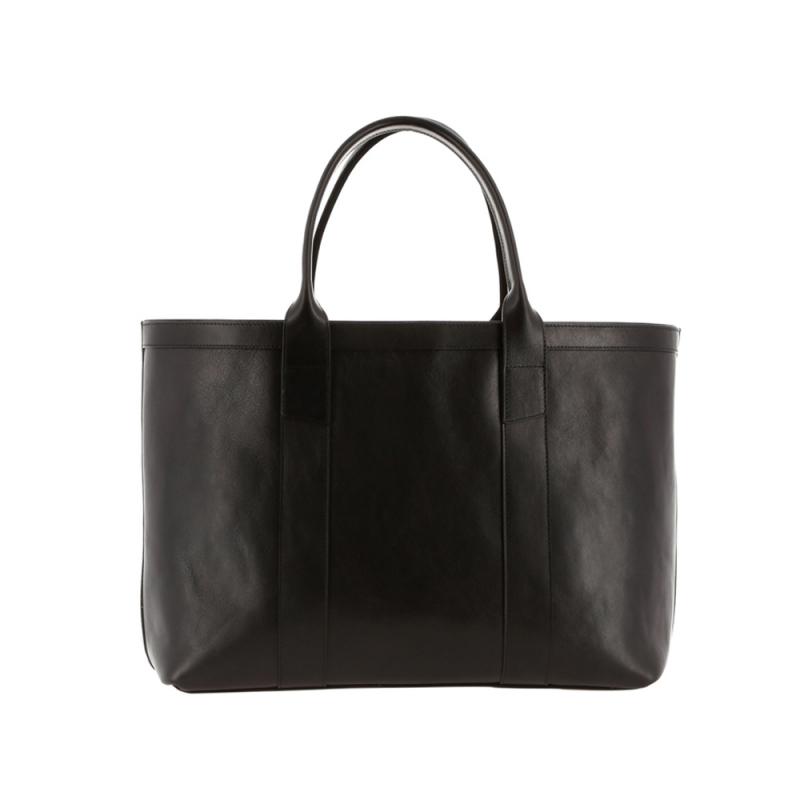 Large Working Tote - Black/Regimental Interior - Smooth Leather