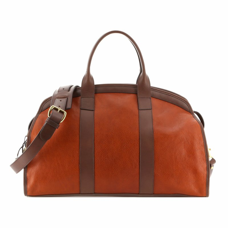 Aiden Duffle - Warm Cognac/Chocolate - Tumbled Grain Leather