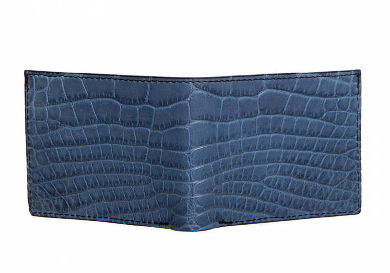 The Slim Wallet -Denim - Gator in Smooth Tumbled Leather