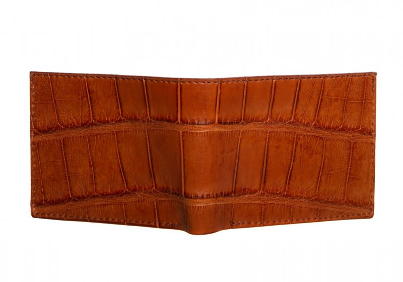 The Slim Wallet -Cognac - Gator in Smooth Tumbled Leather