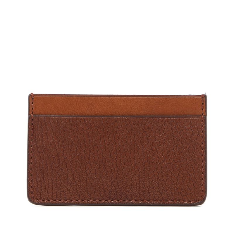 Mini Card Wallet - Antique / Cognac - Chevre Leather  in
