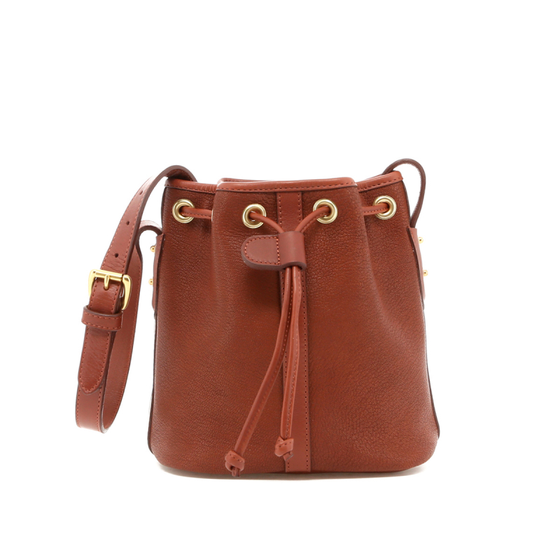 Mini Bucket Bag - Antique Goatskin /Chestnut Trim  - Terracotta Interior in