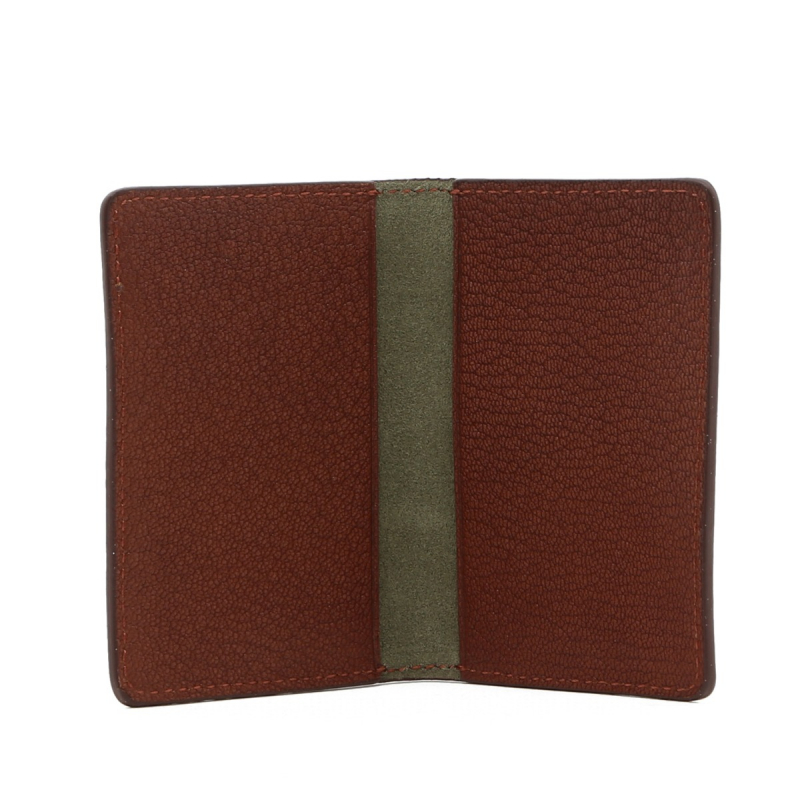 Folding Card Case - Antique / Light Green Suede - Goatskin in