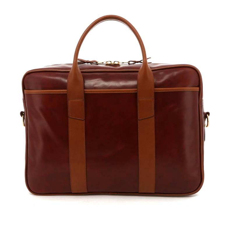 Commuter Briefcase - Apple Spice Calf / Cognac Trim in