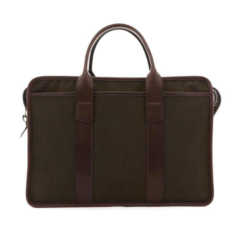 Bound Edge Zip-Top Briefcase - Army Green/Chocolate - Canvas in