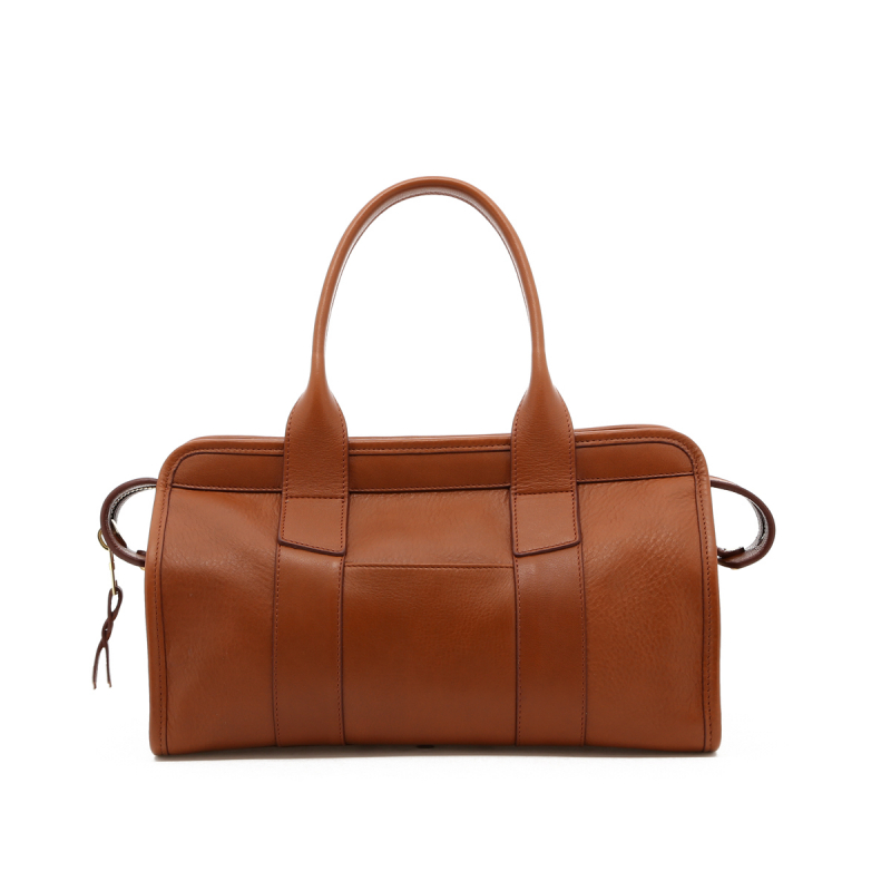 Small Signature Satchel - Cognac - Outside Pocket - Tumbled  in