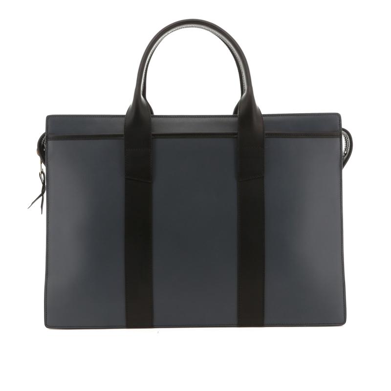 Double Zip-Top Briefcase - Battleship Grey /Black - Belting Leather in