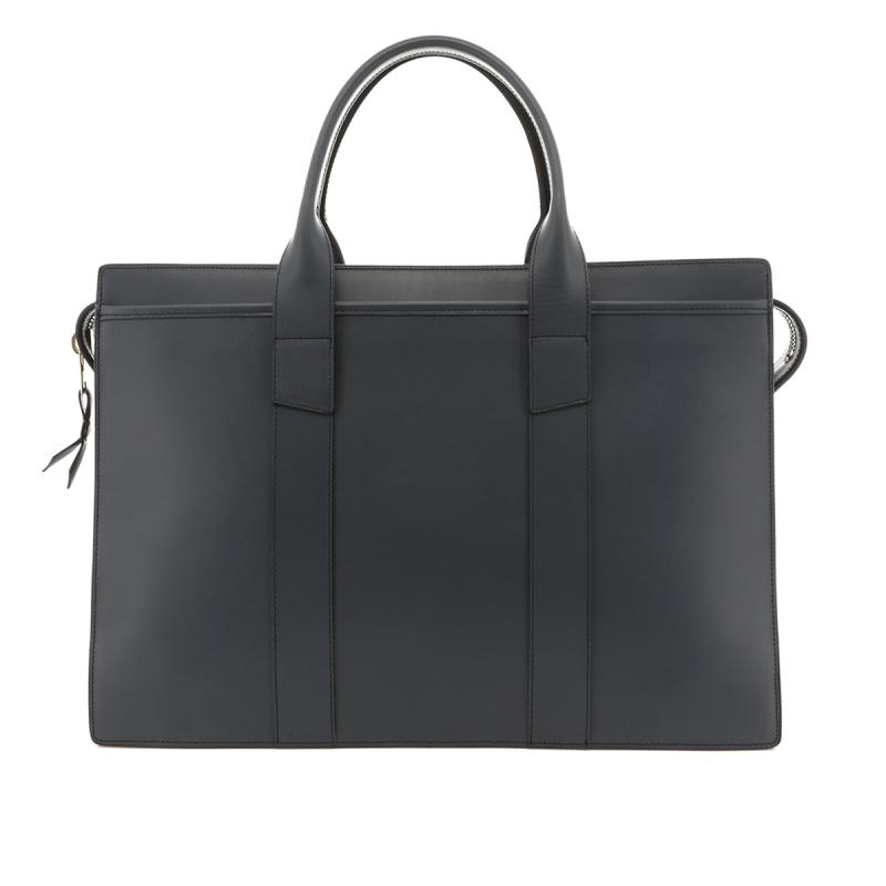 Double Zip-Top Briefcase - Battleship Grey - Belting Leather in