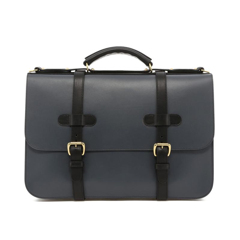 English Briefcase - Battleship Grey/Black Trim - Belting Leather in