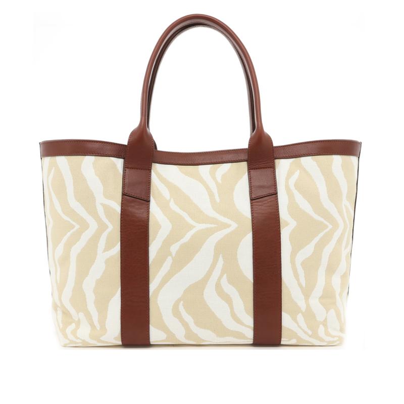 Large Working Tote - Beige/Cream Zebra Canvas - Chestnut Leather Trim in