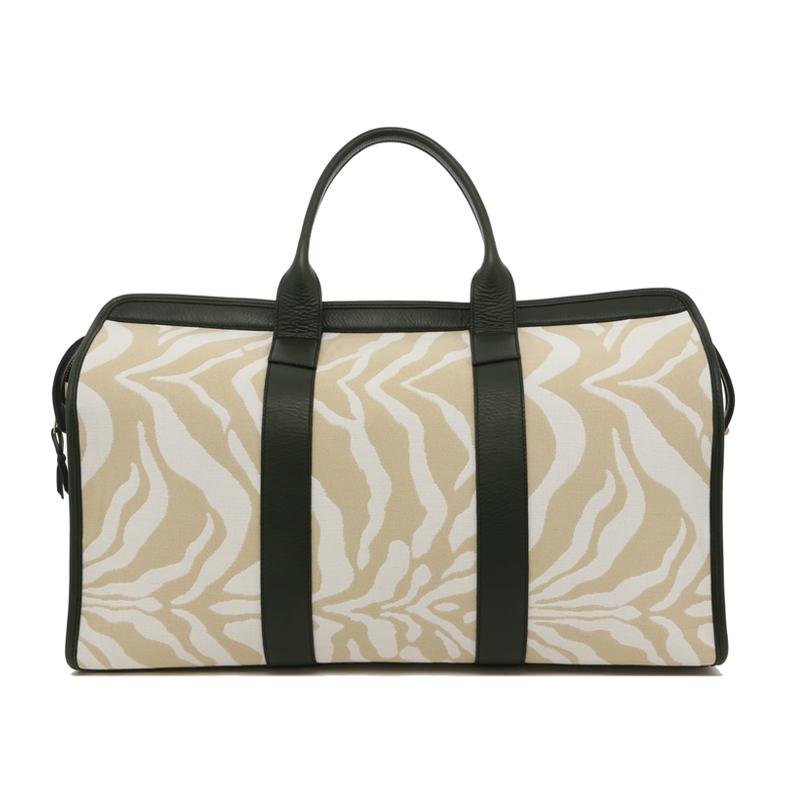 Signature Travel Duffle - Beige/Cream Zebra / Green Trim - Canvas in