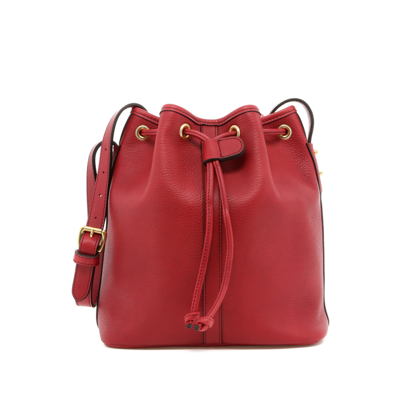 Bucket Bag - Berry - Black Interior - Tumbled in