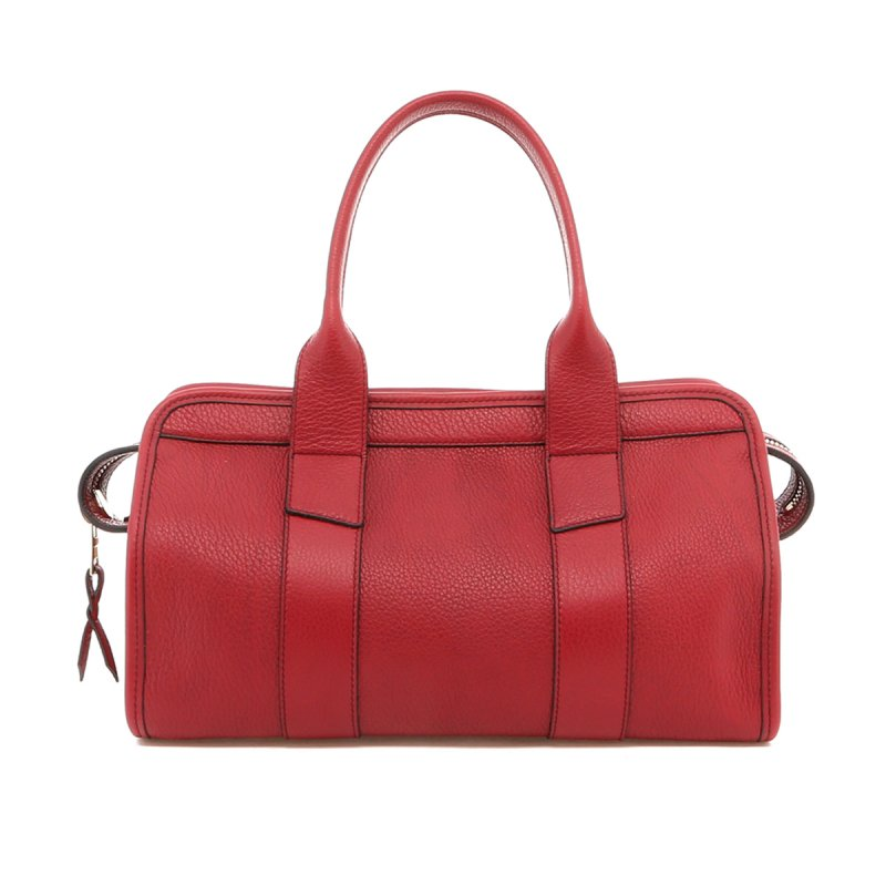 Small Signature Satchel - Berry - Pebbled Leather in