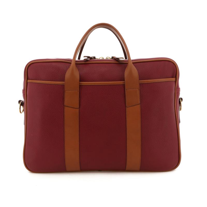 Commuter Briefcase - Berry/Cognac Trim - Tumbled in