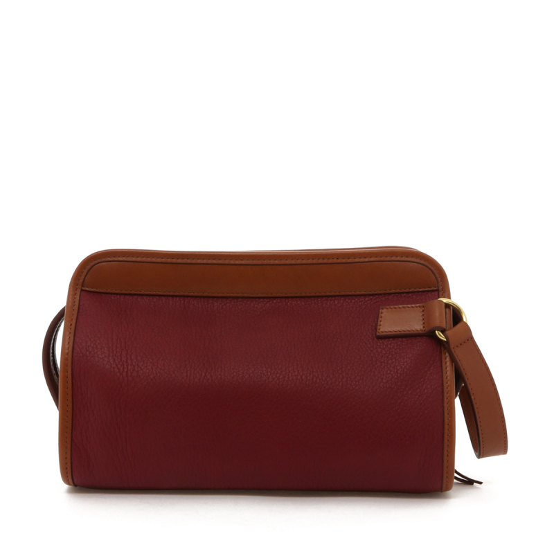 Small Travel Kit - Berry/Cognac - Tumbled Leather in