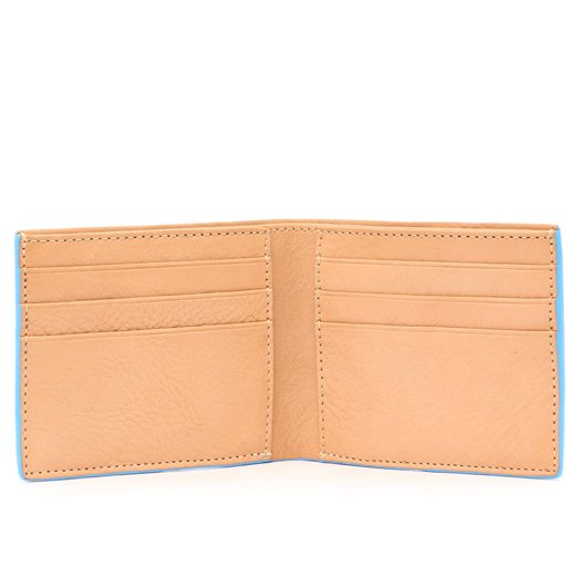 Bifold Wallet - Natural / Baby Blue Edges- Tumbled Leather  in
