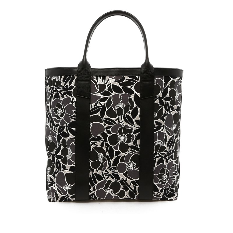Tall Tote - Black/Grey Flower Canvas - Black Trim in