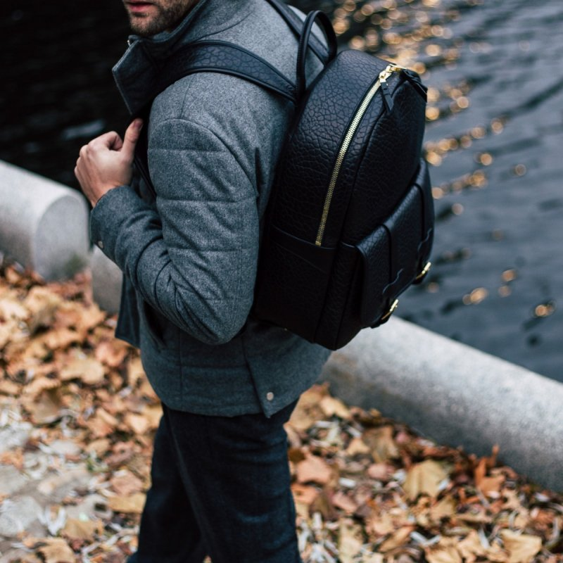 Black Leather Backpack Textured