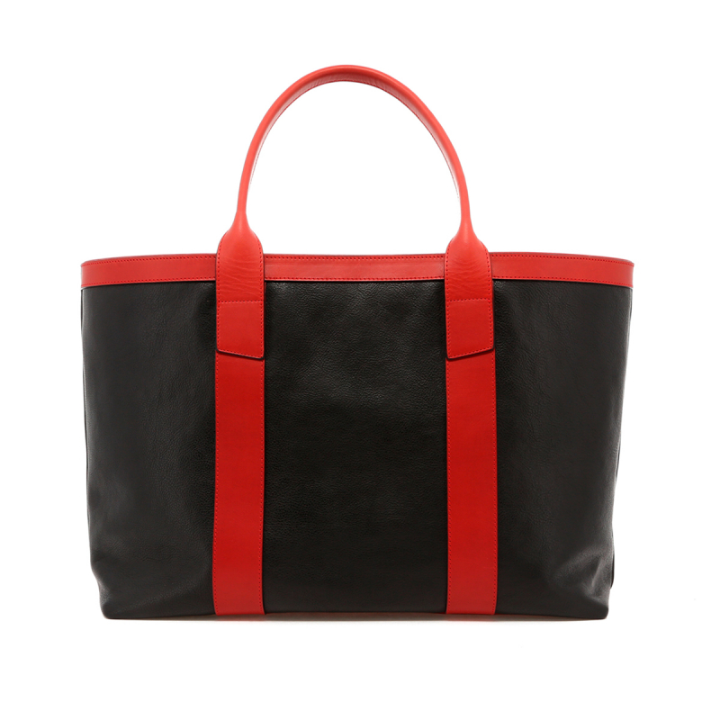 Large Working Tote - Black/Red Trim - Tumbled Leather in