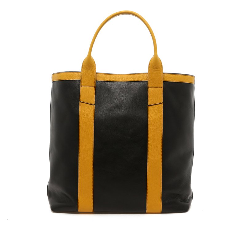 Tall Tote - Black/Yellow Trim - Tumbled - Black interior in