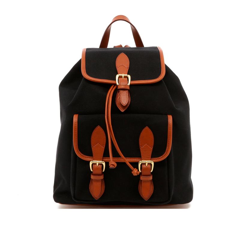 Classic Backpack - Black / Cognac Trim - 18 oz Canvas in