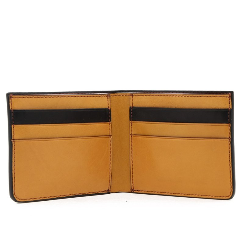 Bifold Wallet - Black / Ochre - Tumbled Leather  in