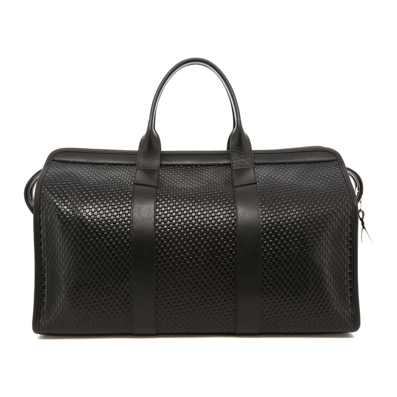 Signature Travel Duffle - Black - Basket Weave Printed Leather in