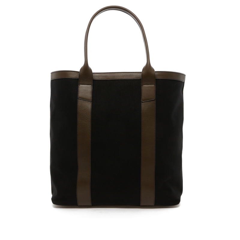 Tall Tote - Black Canvas / Olive Trim -18 oz Canvas in