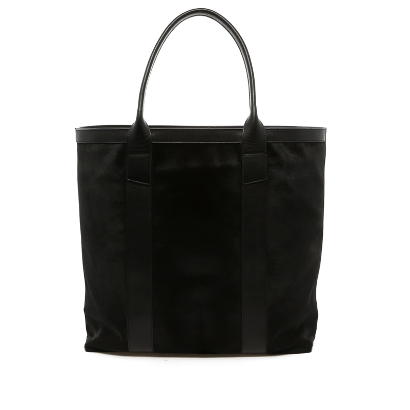 Tall Tote - Black Hair-on Cowhide - Lined in