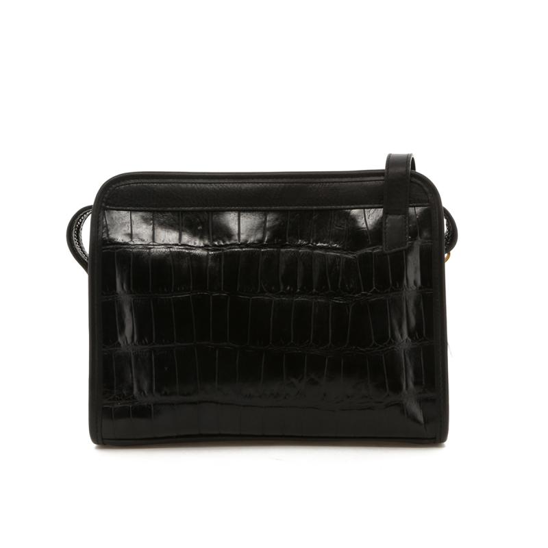 Blazer Bag - Black Croc Printed Leather in
