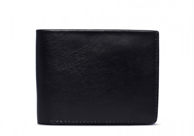 Bifold Wallet Slanted Pockets-Black in Smooth Tumbled Leather