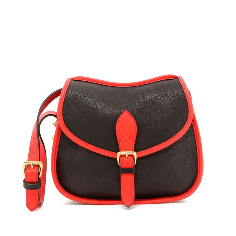 Rider Bag - Black/Hibiscus Trim - Goatskin in