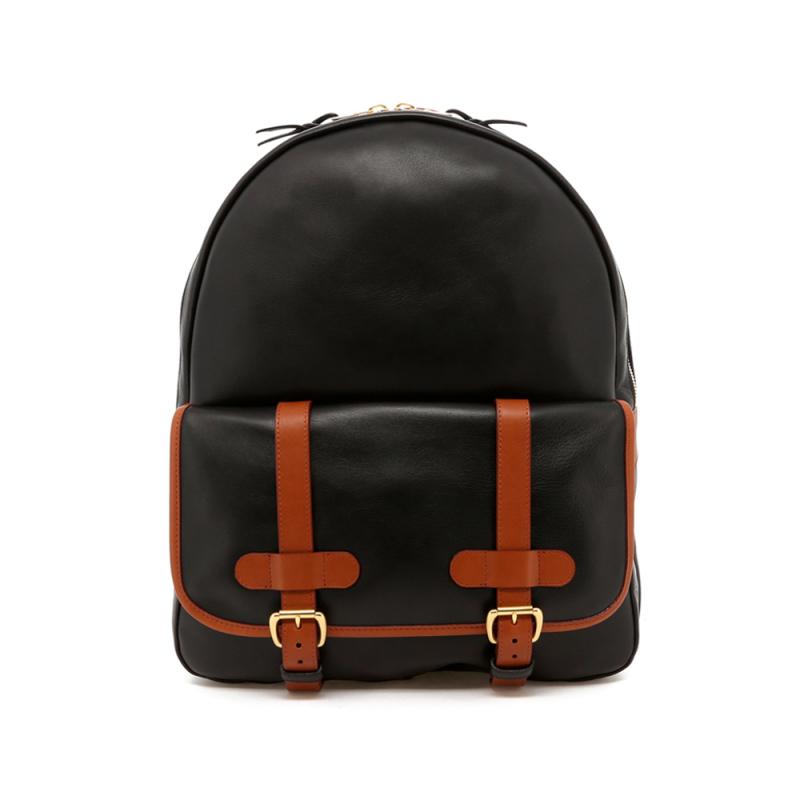 Hampton Backpack - Black/Cognac Trim - Unlined in