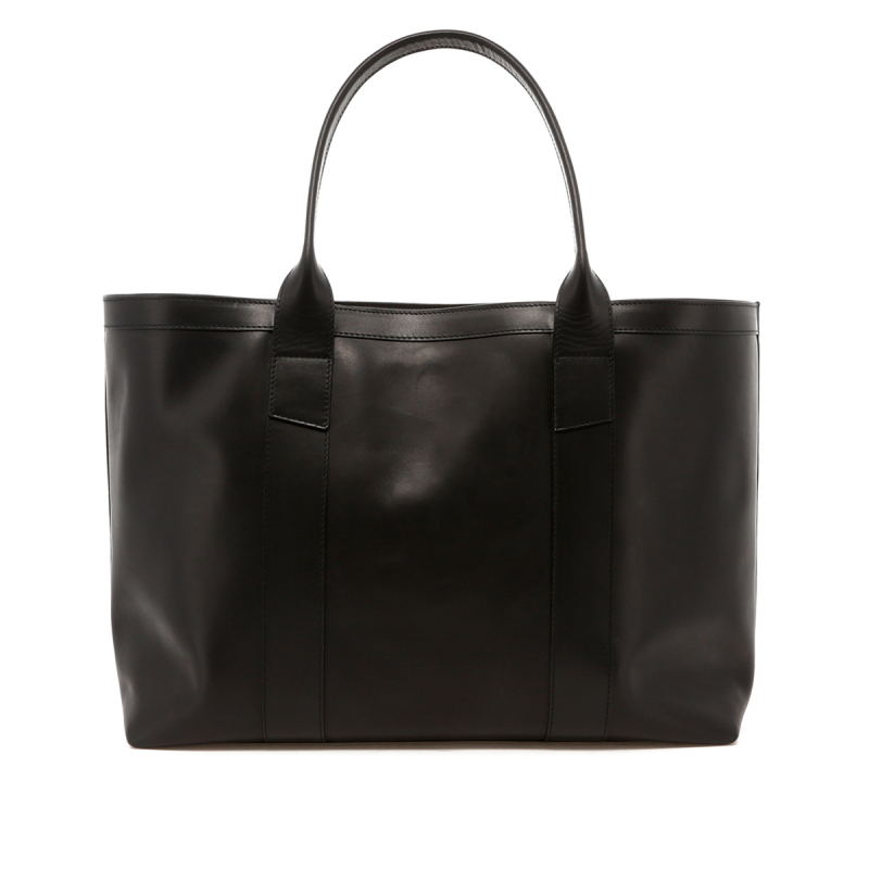 Large Working Tote - Black Leather - Striped Sunbrella Lining in