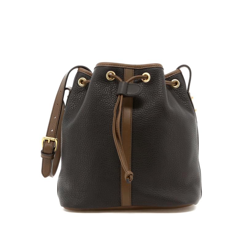 Bucket Bag - Black/Olive - Olive Interior - Pebbled Grain Leather in