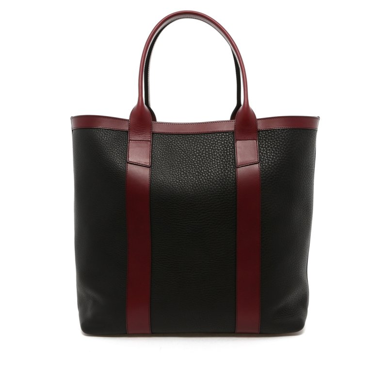 Tall Tote - Black / Maroon Trim - Pebbled Leather in
