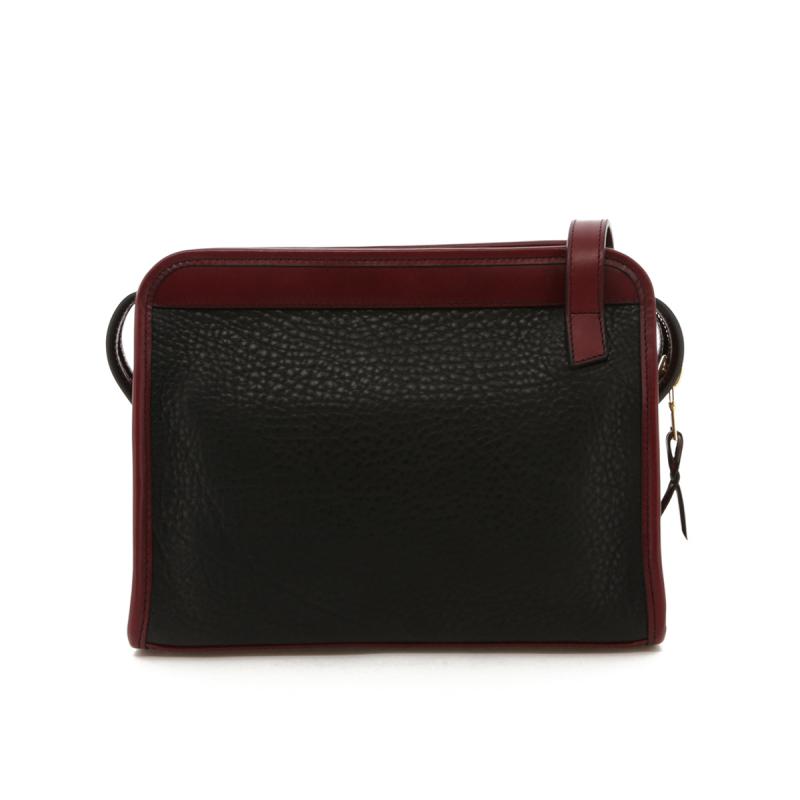Blazer Bag - Black Pebble Leather / Maroon Belting Trim - Grey Cordura Lining in