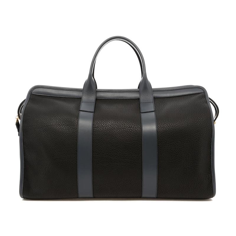 Signature Travel Duffle - Black/Battleship Grey - Pebbled Leather in