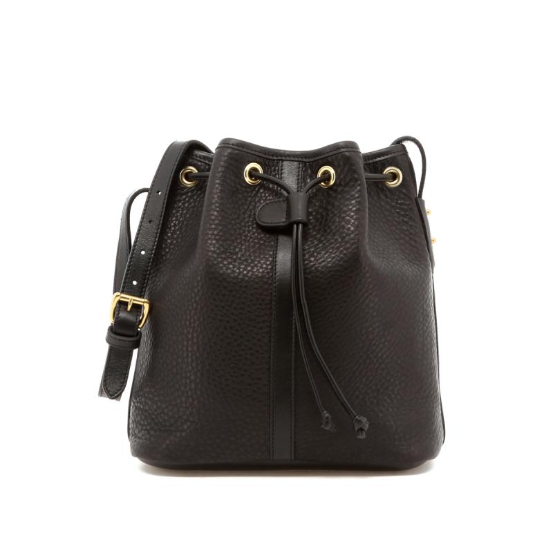 Bucket Bag - Black - Black Interior - Pebbled Leather in