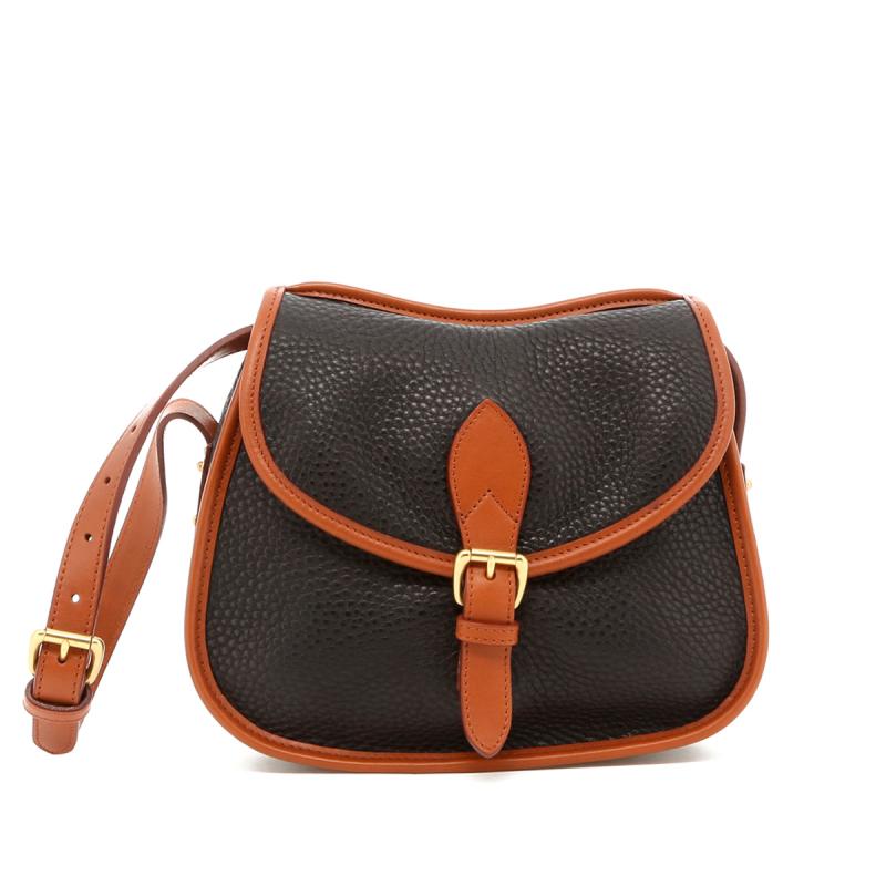 Rider Bag - Black/Cognac Trim - Pebbled Leather in