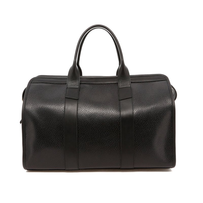 Small Travel Duffle - Black Pigskin Leather - Blue Interior in