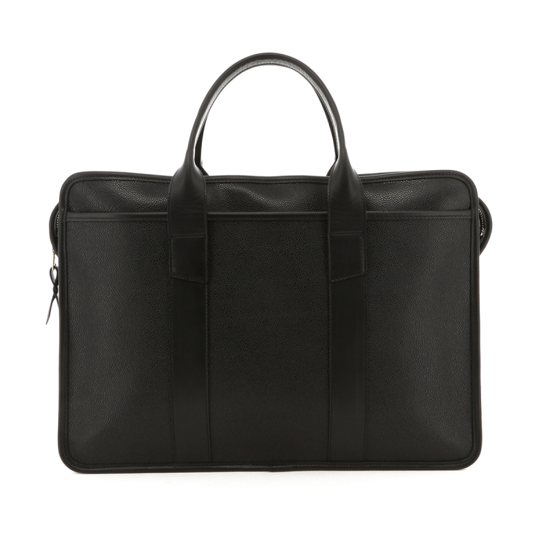 Bound Edge Zip-Top Briefcase - Black - Scotch Grain in