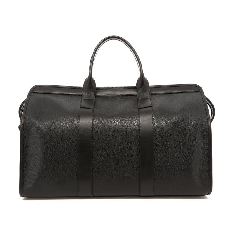 Signature Travel Duffle - Black Scotch Grain Leather - Lilypad Sunbrella Interior in