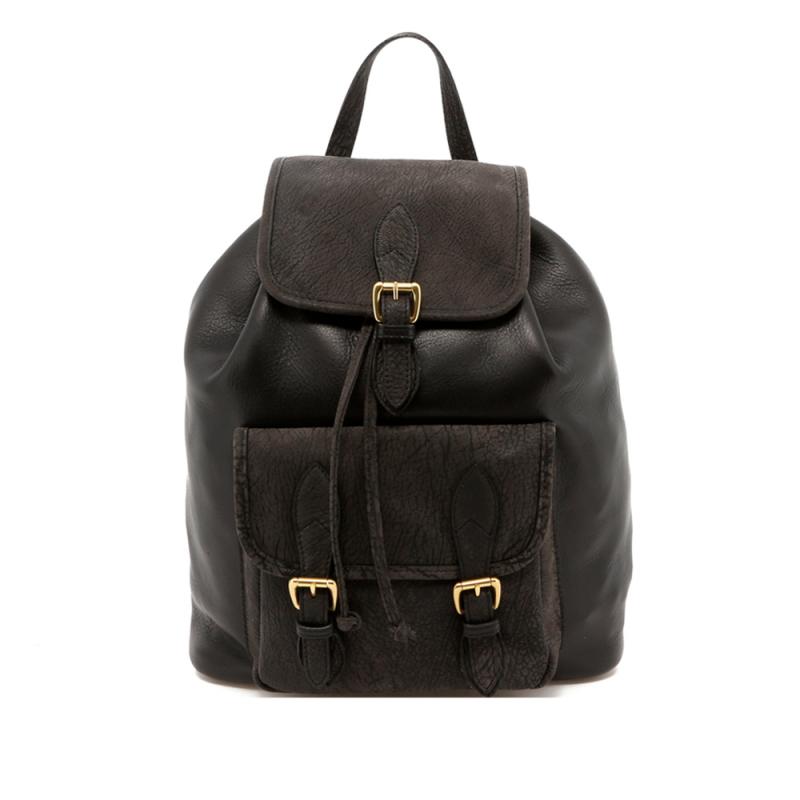 Classic Backpack - Black - Slate Grey Goatskin Trim - Tumbled in