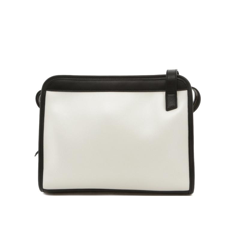 Blazer Bag - White/Black - Blue Interior - Calf in